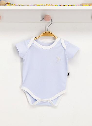 U.S. Polo Assn. Lisanslı Beyaz Bebek Body Zıbın Mavi